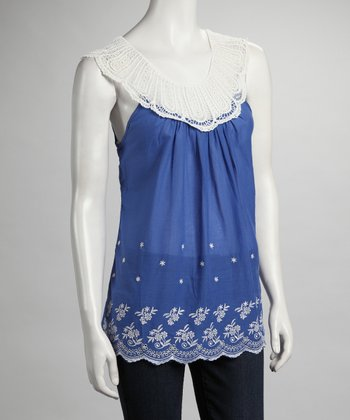 Blue Lace Embroidered Yoke-Neck Top