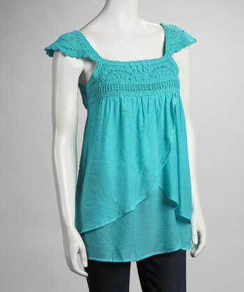 Aqua Cap-Sleeve Top