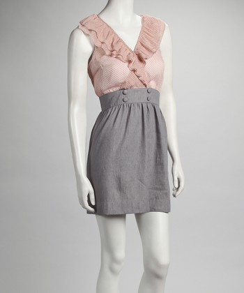 Gray & Pink Double Ruffle Dress