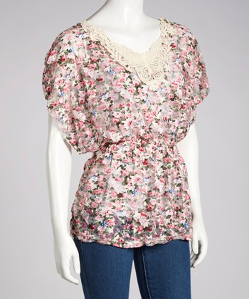 Pink Floral Crocheted Cape-Sleeve Top