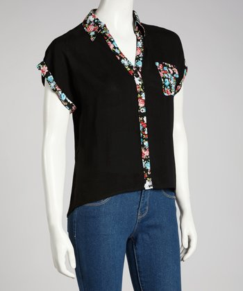 Black Floral Short-Sleeve Button-Up Top