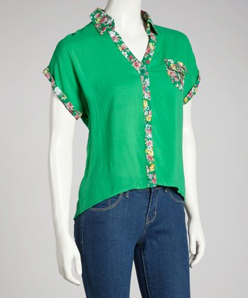 Green Floral Short-Sleeve Button-Up Top