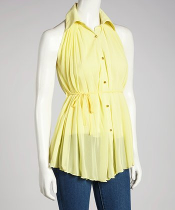 Yellow Pleated Sleeveless Button-Up