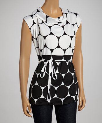 White & Black Dotted Funnel-Collar Belted Top