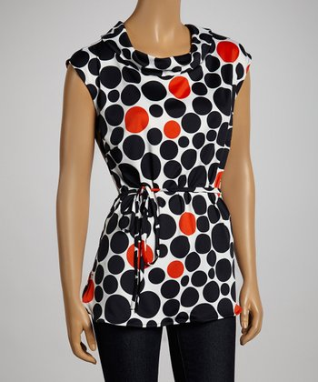 Black & Red Dotted Funnel-Collar Belted Top