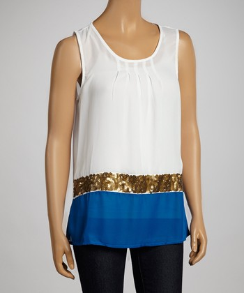 White & Royal Blue Color Block Sequin Tank