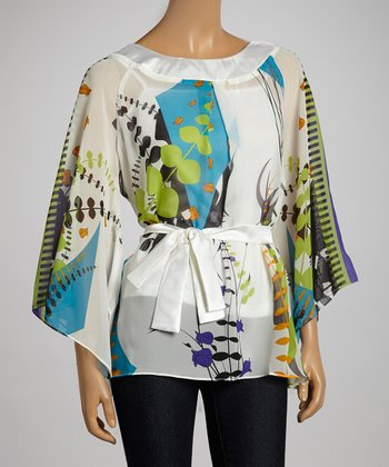White Tropical Cape-Sleeve Belted Top