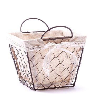 Small Square Handled Lined Basket