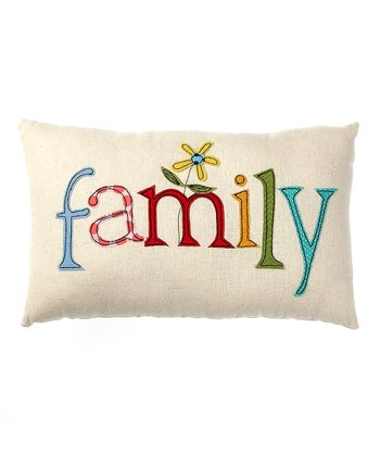 White 'Family' Pillow