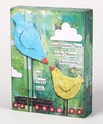 Green & Blue Bird 'A Great Mom' Box Sign