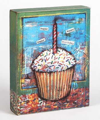 Blue & Brown Cupcake 'Happy Birthday' Box Sign
