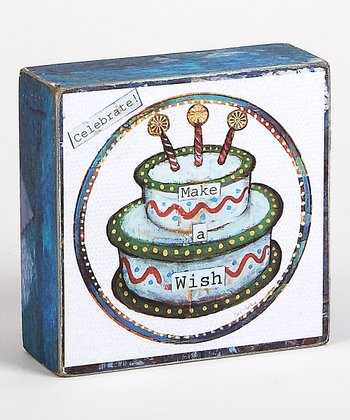 Blue & Green Cake 'Make a Wish' Box Sign