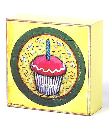 Yellow & Red Cupcake 'Time to Celebrate' Box Sign