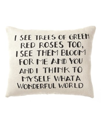 White & Black 'A Wonderful World' Pillow