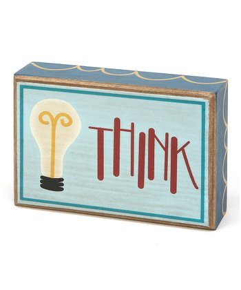 Blue & Red 'Think' Box Sign
