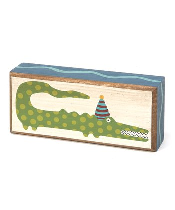 Crème & Green 'Party Gator' Box Sign