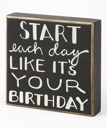 Black & White 'Birthday' Box Sign