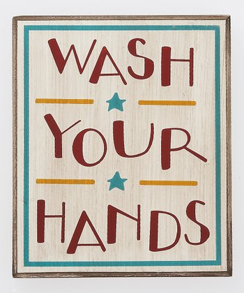 Crème & Red 'Wash Your Hands' Box Sign