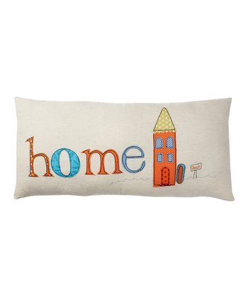 Cream & Orange 'Home' Pillow