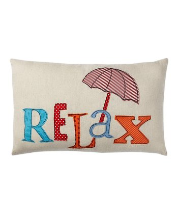 Cream & Orange 'Relax' Pillow