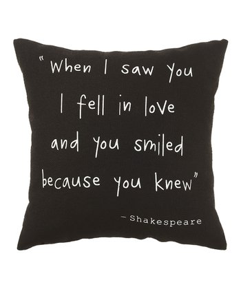 Black 'When I Saw You' Pillow
