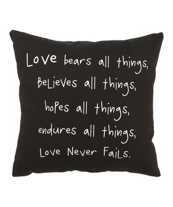 Black 'Love Never Fails' Pillow