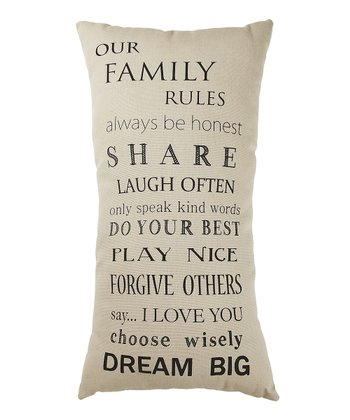 White 'Our Family Rules' Pillow