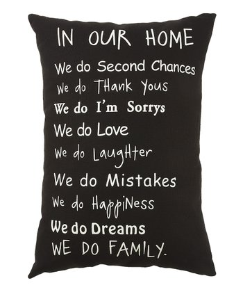 Black 'In Our Home' Pillow