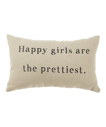 White 'Happy Girls' Pillow
