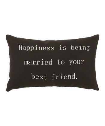 Black 'Happiness is Being Married' Pillow
