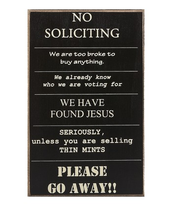 'No Soliciting' Sign