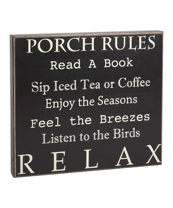 'Porch Rules' Box Sign