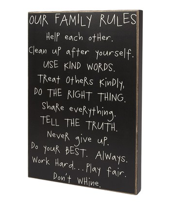 'Our Family Rules' Box Sign