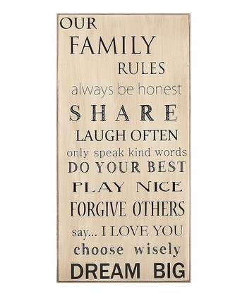 'Our Family Rules' Sign