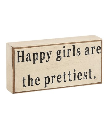 'Happy Girls are the Prettiest' Box Sign