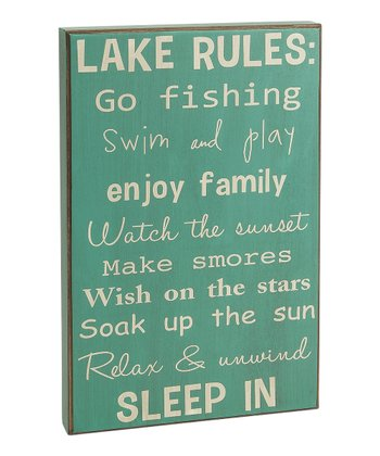 Blue 'Lake Rules' Box Sign
