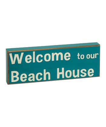 Blue 'Welcome to Our Beach House' Box Sign