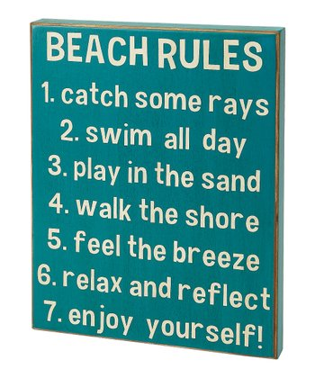 Blue 'Beach Rules' Box Sign