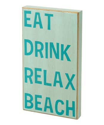 Light Blue 'Eat Drink Relax Beach' Box Sign