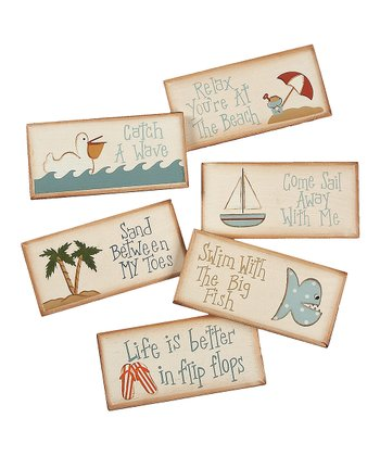 Blue & Cream 'Catch a Wave' Magnet Set