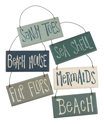 Blue & Cream Beach Sign Ornament Set