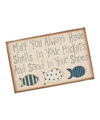 Cream & Blue 'Shells in Your Pockets' Sign