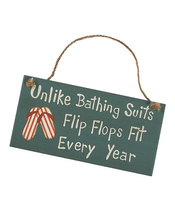 Blue & Cream 'Flip Flops Fit' Sign
