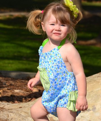 Ruby and Rosie Blue & Green Gingham Floral Halter Sunsuit - Infant