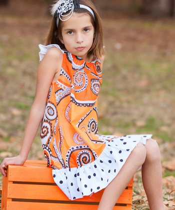 Orange Paisley Angel-Sleeve Dress - Infant, Toddler & Girls
