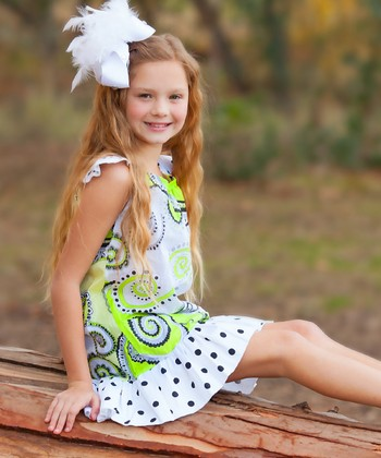 Green Paisley Angel-Sleeve Dress - Infant, Toddler & Girls