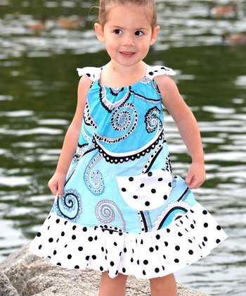 Aqua Paisley Angel-Sleeve Dress - Infant, Toddler & Girls