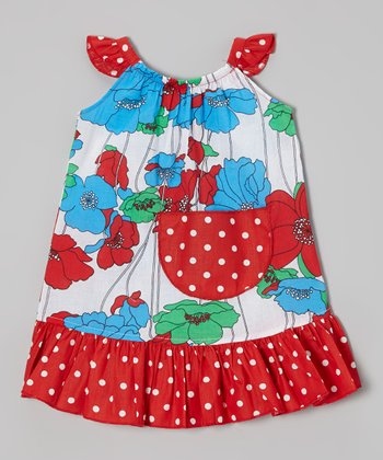 Red Polka Dot Poppy Angel-Sleeve Dress - Infant, Toddler & Girls