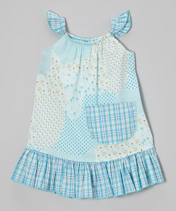 Blue Plaid Daisies Angel-Sleeve Dress - Infant, Toddler & Girls