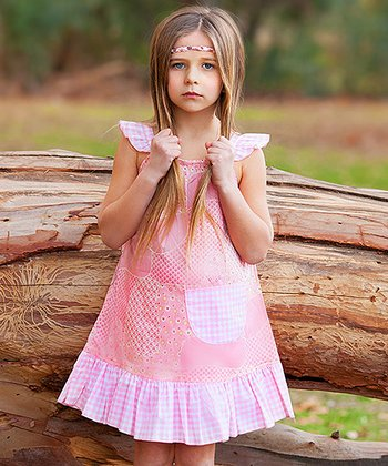 Pink Gingham Daisies Angel-Sleeve Dress - Infant, Toddler & Girls